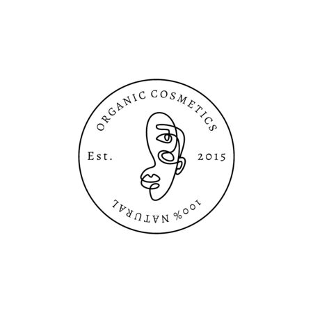 Organic cosmetics In minimalist style. Vector Round Emblem beauty salon. One Line Portrait of a Female. Woman face on circle badges in trendy linear style Çizim
