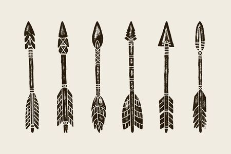 A set Of six Hand Draw Ethnic Indian Arrow. Vector Illustration of hipster Arrows Isolated on White Background with Grunge Texture.