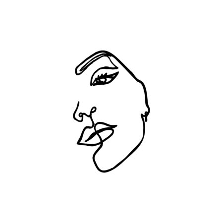 One Line Womans Face. Continuous line Portrait of a girl In a Modern Minimalist Style. Vector Illustration young female. For printing on t-shirt, Web Design, beauty Salons, Posters and other things
