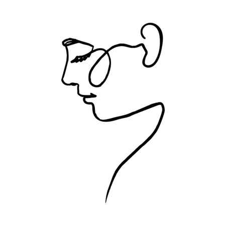 One Line Womans Face. Continuous line Portrait in Profile of a girl In a Modern Minimalist Style. Vector Illustration. For printing on t-shirt, Web Design, beauty Salons, Posters and other things