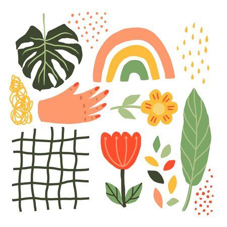 Summer Collage Of Plants , Flowers, Hands, Rainbows, Leaves Monstera Scandinavian style. Stock fotó - 129788226