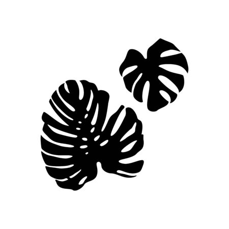 Black monstera Leaf Silhouette isolated on white background. Vector Illustration.