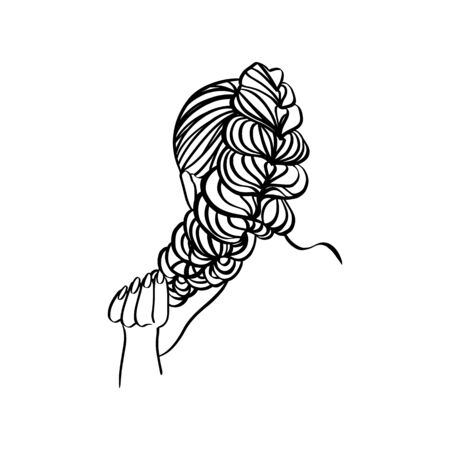 Womens hair Style braid And Hand Line. Vector Illustration in a modern minimalist style. For printing on t-shirt, Web Design, beauty Salons, Posters and other things