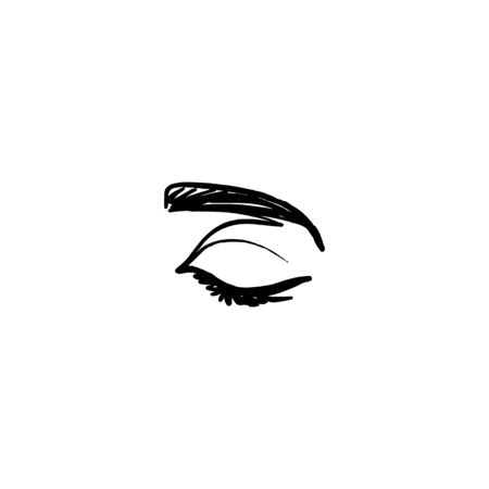 One Line Womans Closed Eye and brow. Continuous line Portrait of a girl In a Modern Minimalist Style. Vector Illustration young female. For printing on t-shirt, Web Design, beauty Salons, Posters