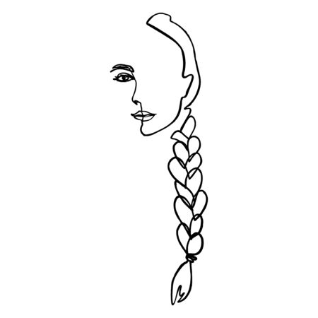One Line Woman's Face and hair Braid. Continuous line Portrait of a girl In a Minimalist Style.