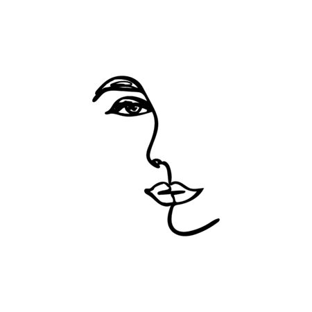 One Line Womans Face. Continuous line Portrait of a girl In a Modern Minimalist Style. Vector Illustration young female.