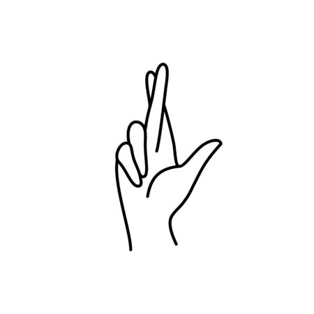 Fingers crossed Woman's hand gesture. Vector Line icon Be happy sign. In a Minimalist Trendy style.