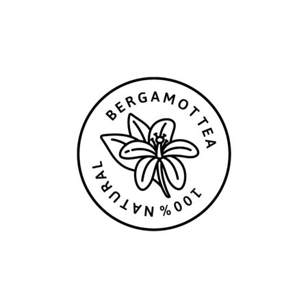 Bergamot Flower tea Icon in trendy linear style. Vector organic Bergamot badges of packaging design template and emblem.