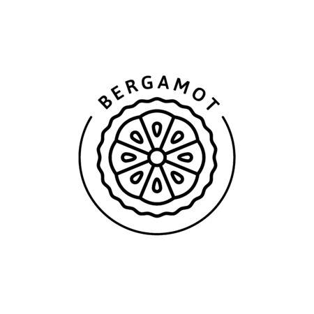 Bergamot citrus Icon in trendy linear style. Vector organic Bergamot badges of packaging design template and emblem. Vector Illustratie