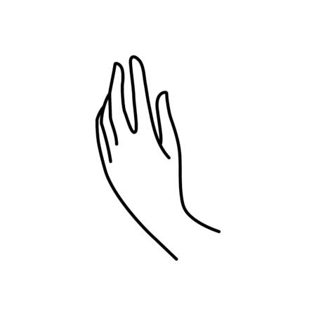 Womans hand icon line. Vector Illustration of female hands of different gestures. Lineart in a trendy minimalist style.
