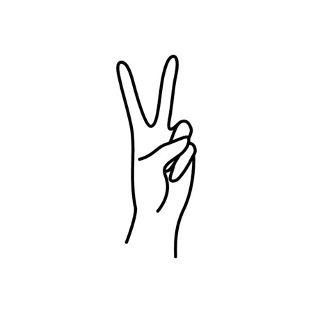 Womans hand peace sign line. Vector Illustration of female hands of victory gesture.