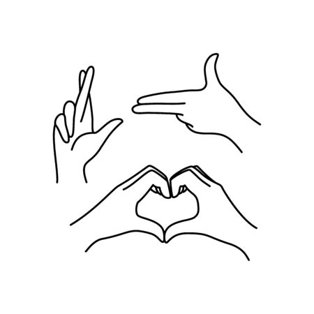 Womans hand icon collection line. Vector Illustration of Elegant female hands of different gestures - symbol Gun, Lucky, heart. Lineart in a trendy minimalist style.