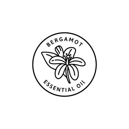 Bergamot Flower essential oil Icon in trendy linear style. Vector organic Bergamot badges of packaging design template and emblem. Isolated on white background. For Tea , Cosmetics, Medicines Çizim