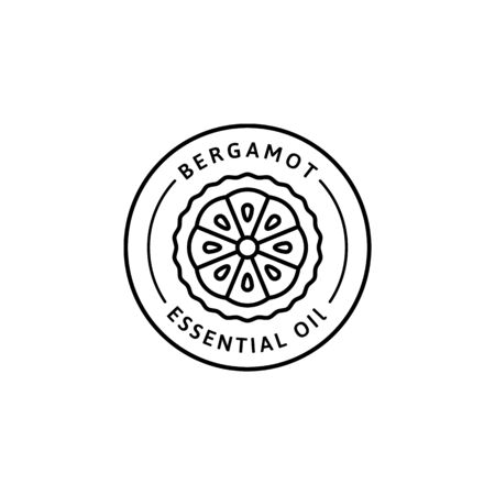 Bergamot citrus essential oil Icon in trendy linear style. Vector herbal organic Bergamot badges of packaging design template and emblem. Isolated on white background. For Tea , Cosmetics, Medicines