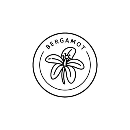 Bergamot Flower Icon in trendy linear style. Vector organic Bergamot badges of packaging design template and emblem. Isolated on white background. For Tea , Cosmetics, Medicines Çizim