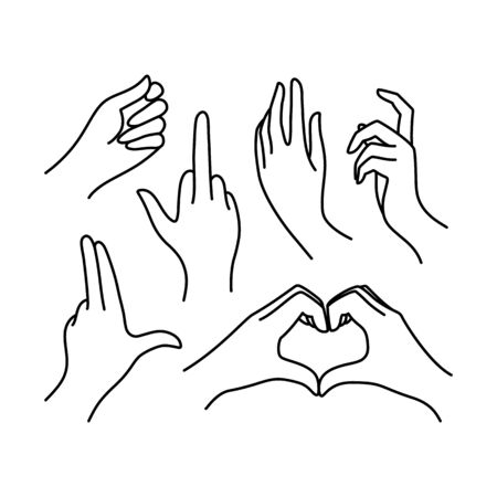Womans hand icon collection line. Vector Illustration of female hands of different gestures - symbol Gun, Fuck You, heart. Lineart in a trendy minimalist style.