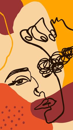 Background with woman portrait one line and shapes. Abstract Mobile Wallpapers in minimalist trendy style for social media stories. Vector Illustration in autumn colors orange, yellow, terracotta