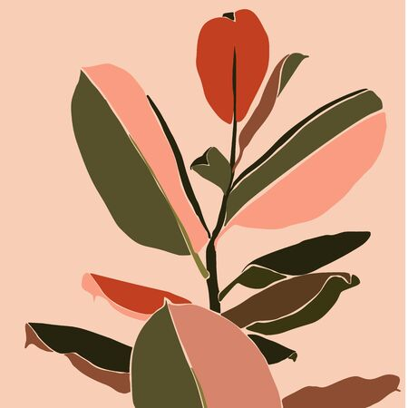 Tropical ficus leaves in a minimalist trendy style. Silhouette of a plant in a contemporary simple abstract style. Çizim
