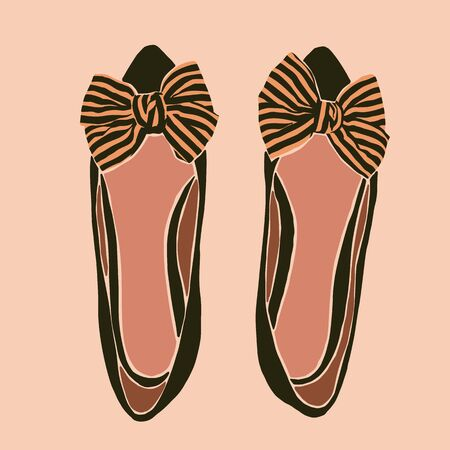 Flat Ballet Shoes With Striped Bows in a minimalist trendy style. Womens shoes in a contemporary simple style. Çizim