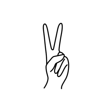 Womans Hand with two finger pointing up icon line. Vector Illustration of female hands of victory, peace gesture.