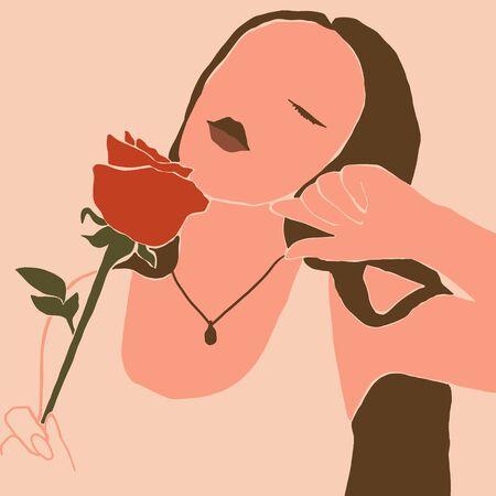 El rostro de la mujer con un estilo minimalista rosa. Collage abstracto contemporáneo en un estilo moderno de moda. Vector Retrato de una mujer. Para concepto de belleza, impresión de camiseta, tarjeta, póster, publicación en redes sociales