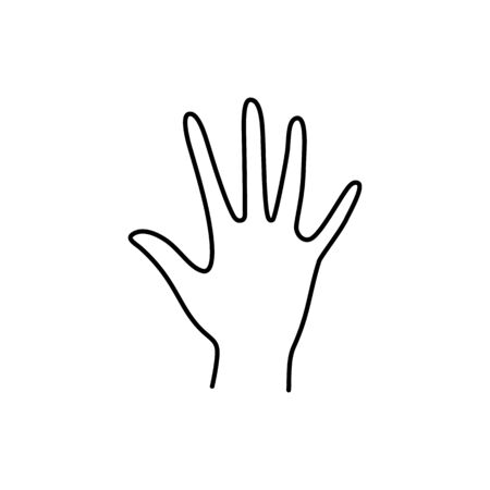 Womans Hand open palm with five finger icon line. Vector Illustration of female hands stop or Hi gesture. Lineart in a trendy minimalist style. Çizim