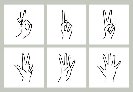 Womans hand hand pointing finger icon collection line. Vector Illustration of female hands of different gestures -zero, one, two, three, four and five. Lineart in a trendy minimalist style.