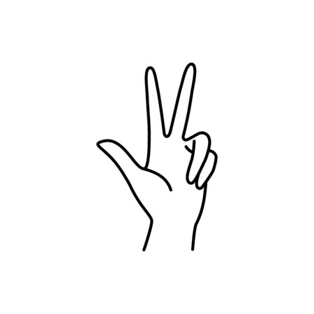 Womans Hand with three finger pointing up icon line. Vector Illustration of female hands gesture. Lineart in a trendy minimalist style.