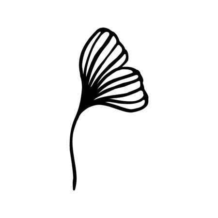 Ginkgo biloba leaf hand drawn contour line. Vector Floral art in a Trendy Minimalist Style.