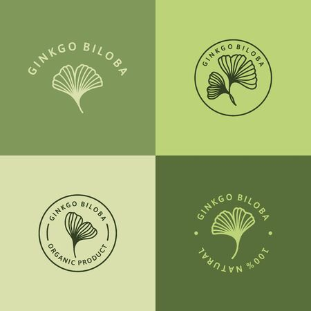 Set of Ginkgo Biloba Leaf green badge and icon in trendy linear style