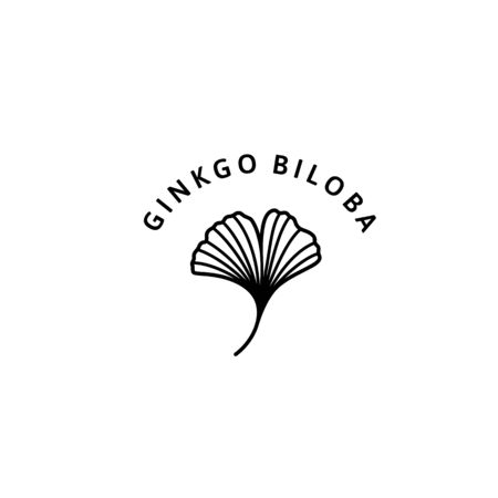 Ginkgo Biloba Leaf herbal organic badge and icon in trendy minimalist linear style. Çizim