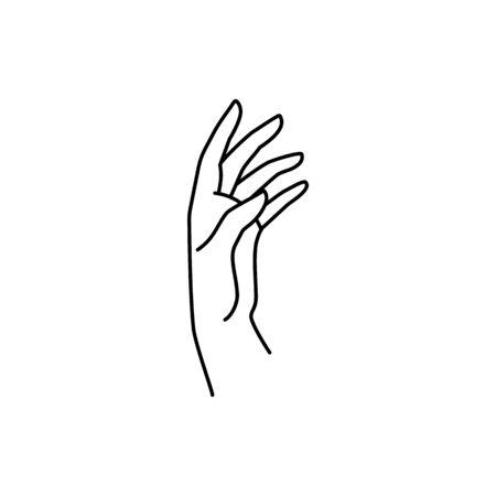 Womans Hand icon line. Vector Illustration of female hand. Line art in a trendy minimalist style. Ilustração