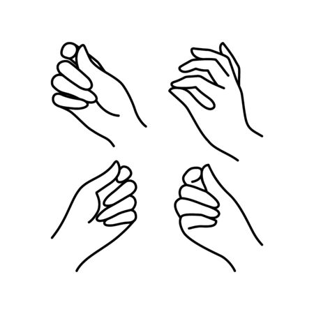 Womans hand icon collection line. Vector Illustration of Elegant female hands of different gestures. Line art in a trendy minimalist style. Ilustração