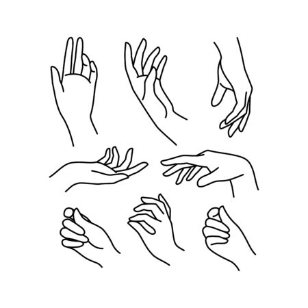 Womans hand icon collection line. Vector Illustration of Elegant female hands of different gestures. Line art in a trendy minimalist style. Stock Illustratie