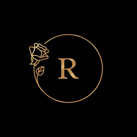Rose Flower gold frame with copy space. Round Icon in trendy linear style. Ilustração