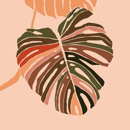Tropical monstera leaves in a minimalist trendy style. Silhouette of a plant in a contemporary simple abstract style. Vector illustration collage. For t-Shirt Print, card, poster, social media post