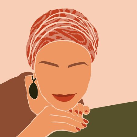 Woman in the turban and big earrings in Minimal Style. Abstract Contemporary collage in a modern trendy style. Vector Portrait of a female. For Beauty Concept, t-Shirt, card, poster, social media post Ilustração