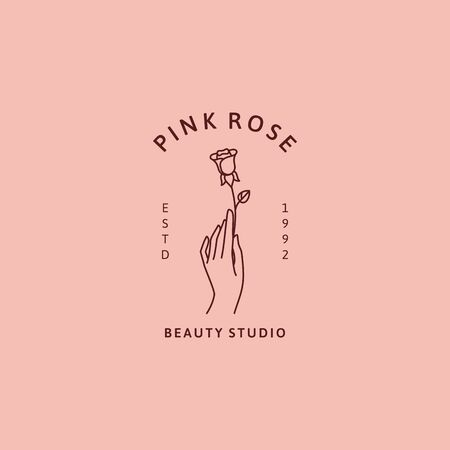 Hand and rose icon in minimal trendy linear style.