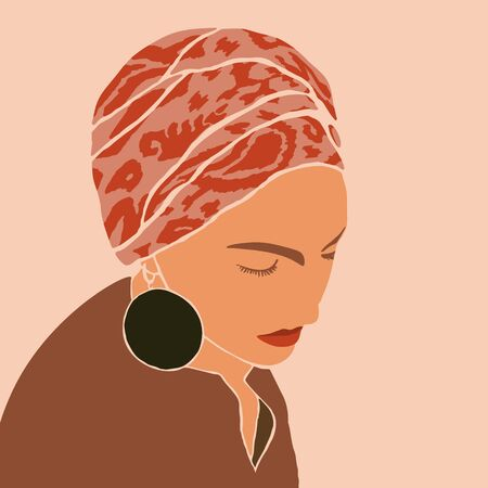 Woman in the turban and big earrings in Minimal Style. Abstract Contemporary collage in a modern trendy style.