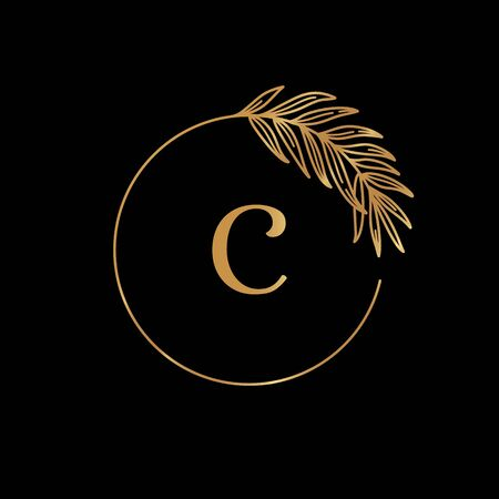 Golden tropical palm leaf frame. Round Icon in trendy minimal linear style.