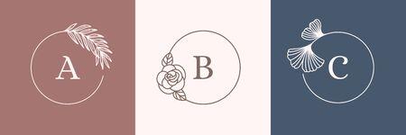 A set of Round Botanical frames in a trendy minimal linear style. Ilustração