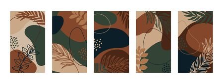 Set Backgrounds with palm leaves and different shapes.