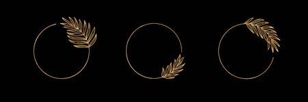 Set of icon with Golden tropical palm leaf. Round frame in trendy minimal linear style.