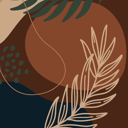 Abstract print plants and palm leaf line and geometric shapes in a minimal trendy art in brown colors. Ilustração