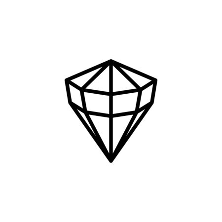 Round Diamond outline icon, modern minimal design style. Ilustração