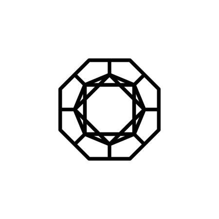 Octagonal Diamond outline icon, modern minimal design style. Ilustração
