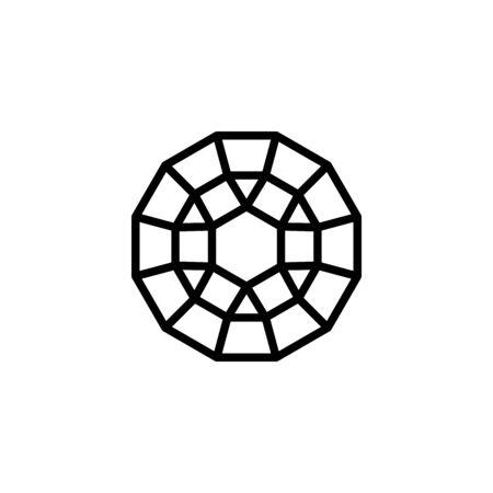 Polygonal Diamond outline icon, modern minimal design style.