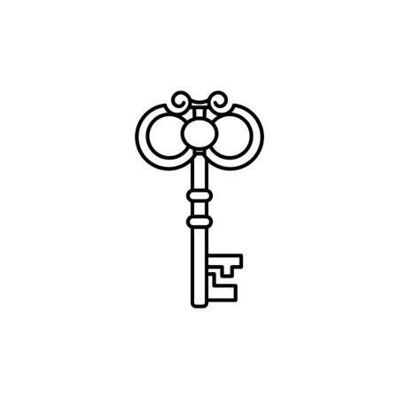 Outline skeleton vintage key. Ilustração