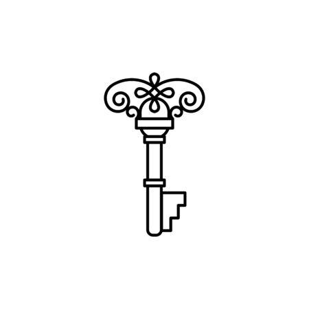 Outline vintage key. Ilustração