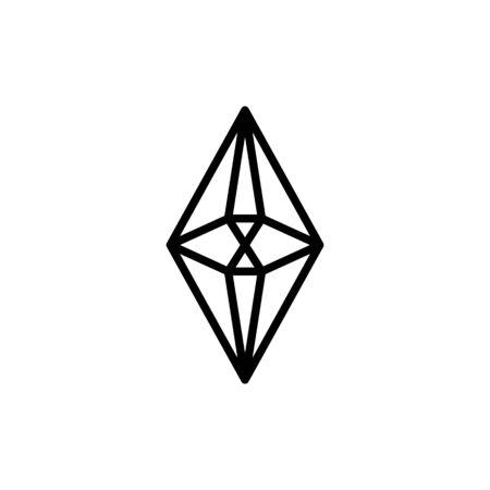 Hexagonal diamond outline icon is a simple trendy style.